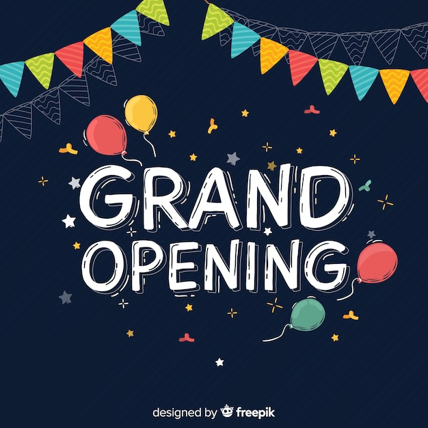 Grand opening background flat style Free Vector
