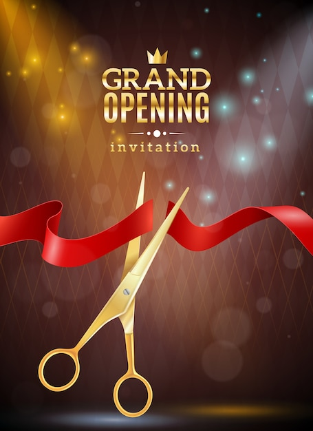 Grand opening background illustration Free Vector