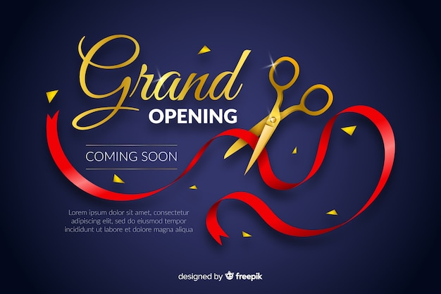 Grand opening background in realistic style Premium Vector