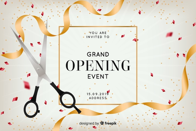 Grand opening background in realistic style Free Vector