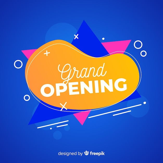 Grand opening background template flat design Free Vector
