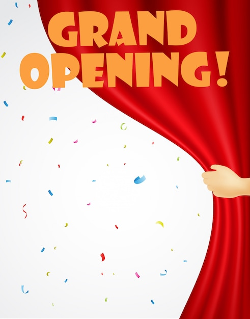 Grand opening background with confetti and red curtain Premium Vector