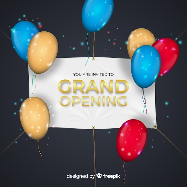 Grand opening background with realistic banner Free Vector