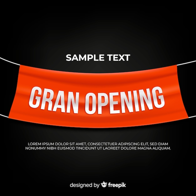 Grand opening background with realistic textile banner Free Vector