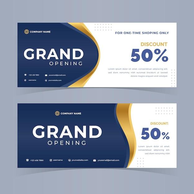 Grand opening banner design Premium Vector