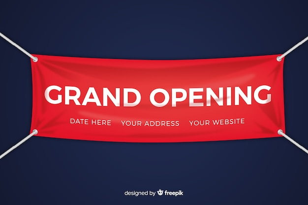 Grand opening banner in realistic style Free Vector