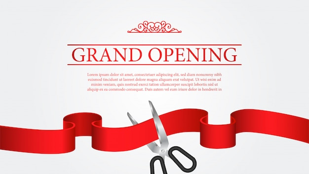 Grand opening banner template cutting ribbon ceremony Premium Vector