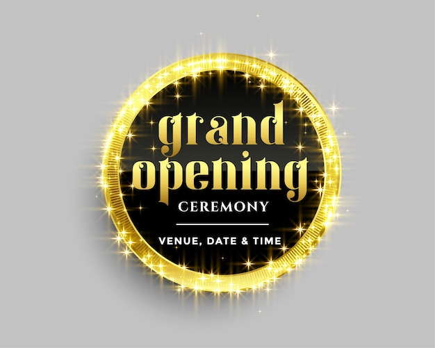 Grand opening banner template with golden sparkles design Free Vector