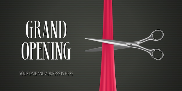 Grand opening   banner with scissors cutting red ribbon for opening ceremony Premium Vector