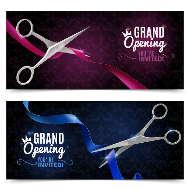 Grand opening banners set Free Vector