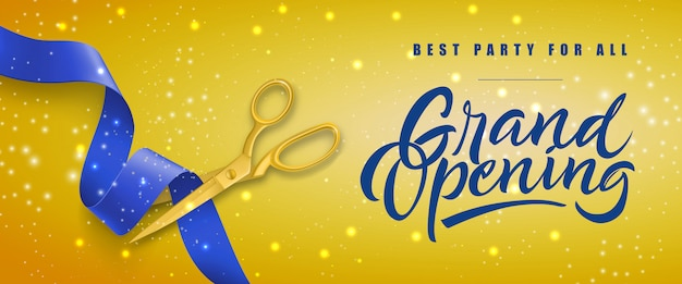 Grand opening, best party for all festive banner with gold scissors cutting blue ribbon Free Vector