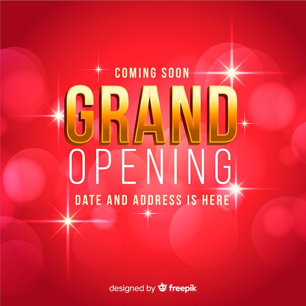Grand opening bokeh background Free Vector