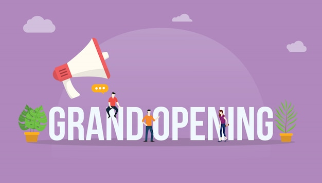 Grand opening business concept with megaphone Premium Vector