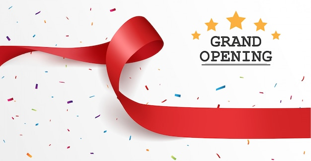 Grand opening card design with red ribbon and colorful confetti Premium Vector