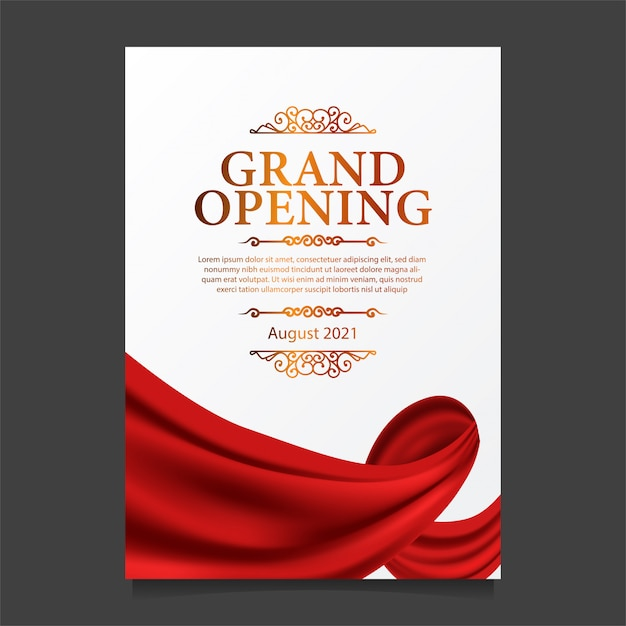 Grand opening card template with illustration of red curtain silk Premium Vector