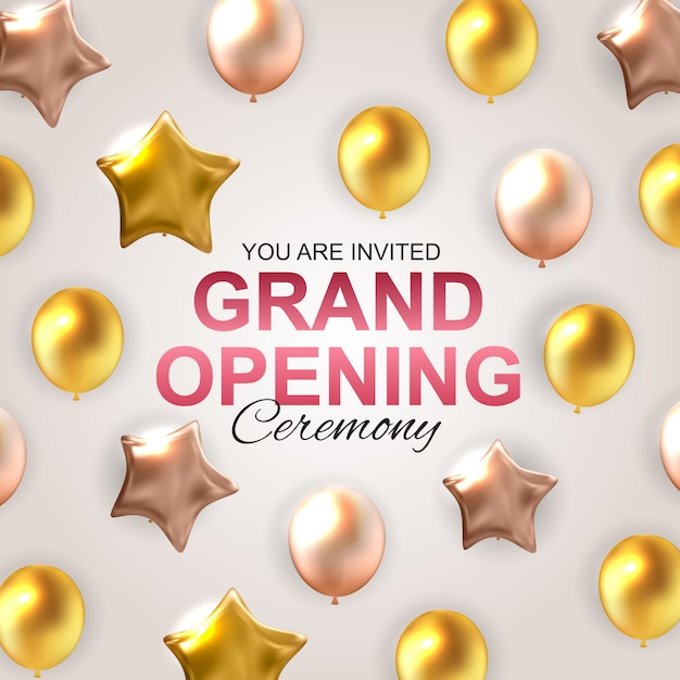 Grand opening card with balloons . Premium Vector
