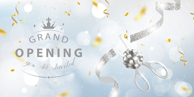Grand opening card with golden ribbon background glitter frame template. Premium Vector