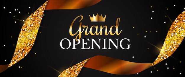 Grand opening card with golden ribbon background Premium Vector