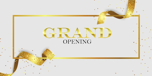 Grand opening card with golden ribbons Premium Vector
