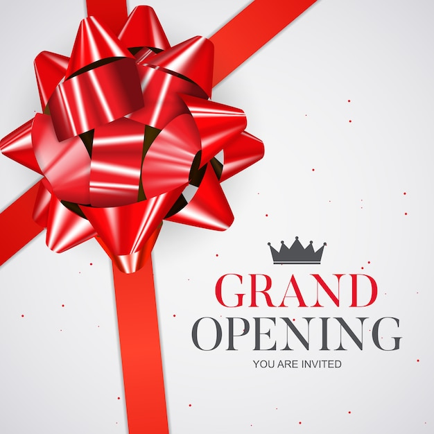 Grand opening card with ribbon background.   illustration Premium Vector