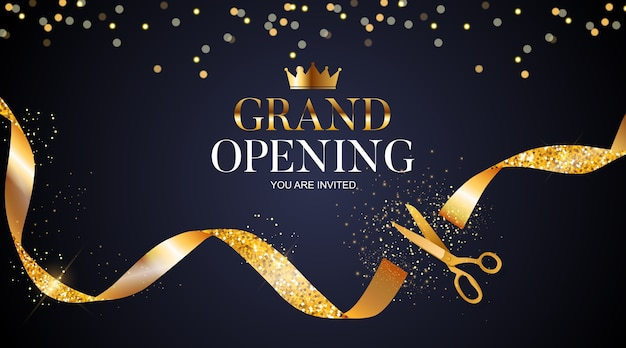Grand opening card with ribbon and scissors background. Premium Vector