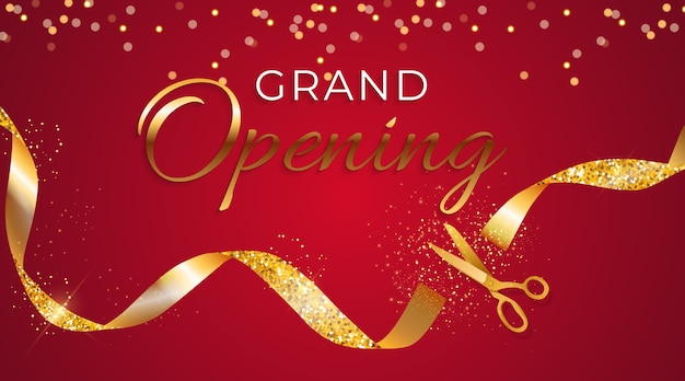 Grand opening card with ribbon and scissors background Premium Vector