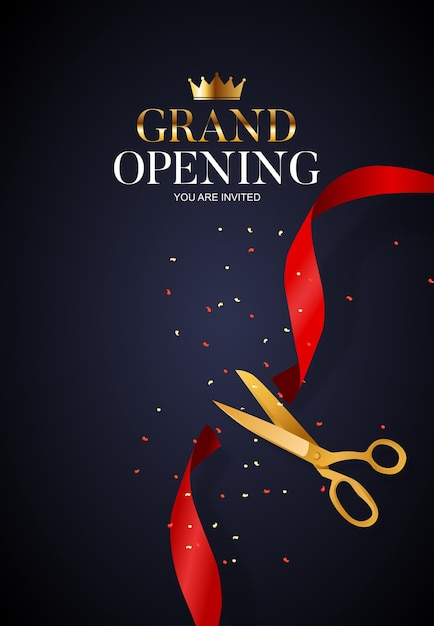 Grand opening card with ribbon and scissors Premium Vector