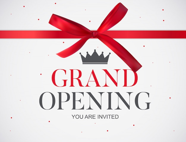 Grand opening card with ribbon Premium Vector