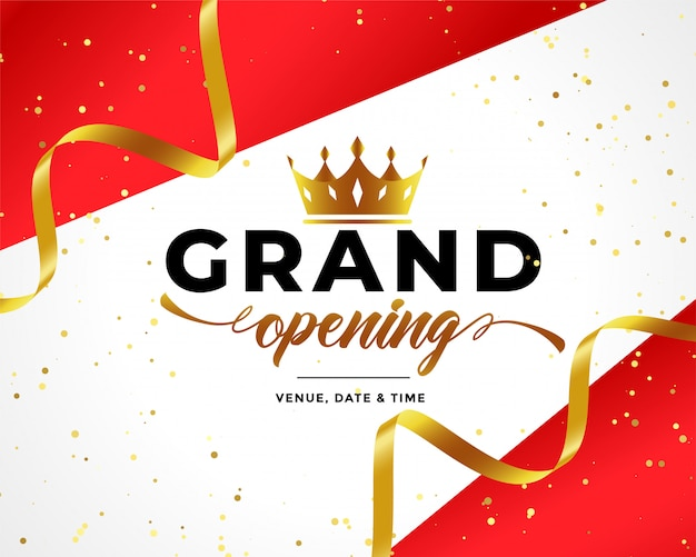 Grand opening celebration background with golden confetti and crown Free Vector