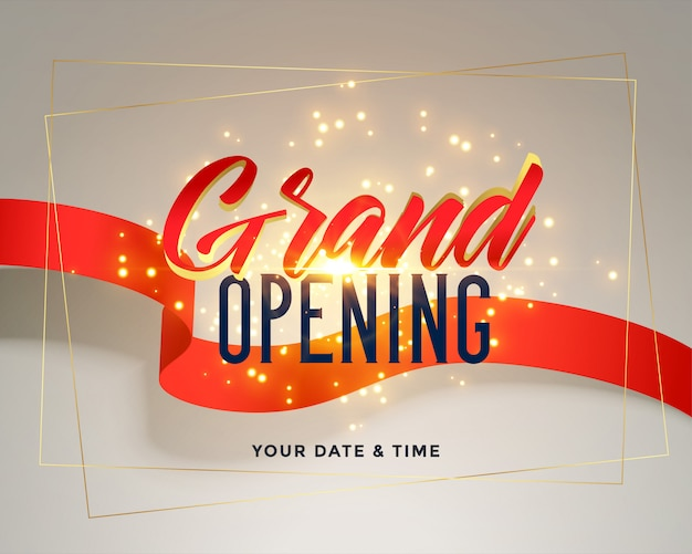 Grand opening celebration flyer greeting Free Vector