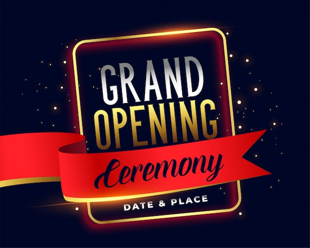 Grand opening ceremoney invitation attractive Free Vector