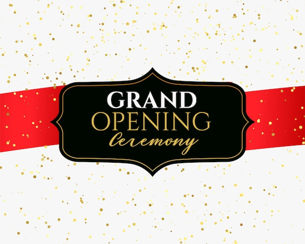 Grand opening ceremony banner with golden confetti Free Vector