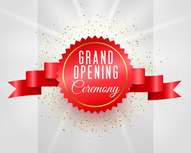 Grand opening ceremony celebration banner with 3d ribbon Free Vector