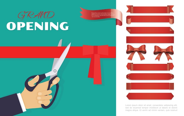 Grand opening ceremony concept Free Vector