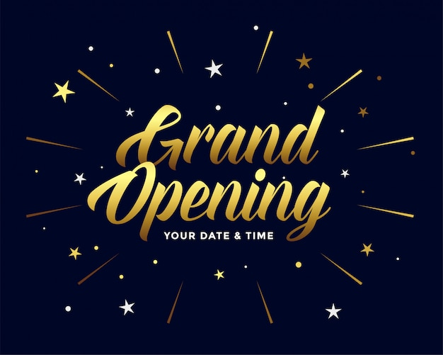 Grand opening ceremony flyer in golden style Free Vector