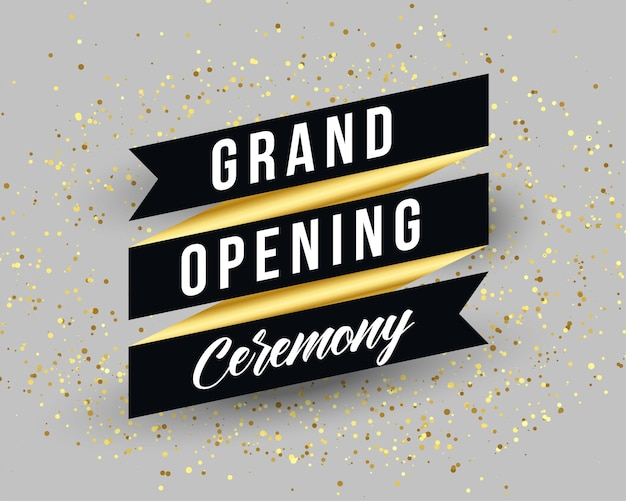 Grand opening ceremony invitation banner template design Free Vector