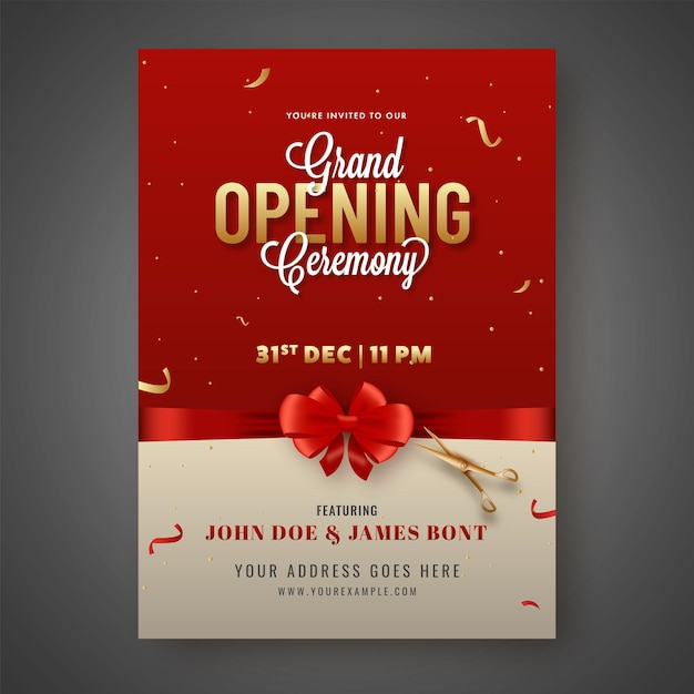 Grand opening ceremony invitation card closed with red bow ribbon and golden scissors Premium Vector