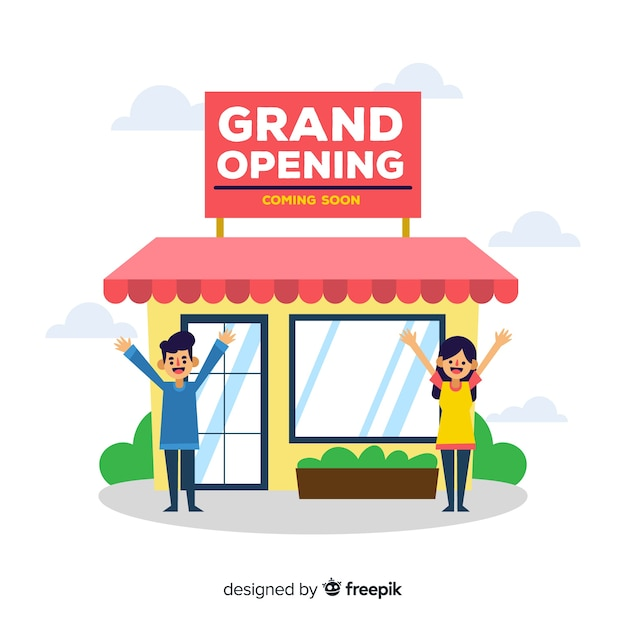 Grand opening coming soon in flat design Free Vector