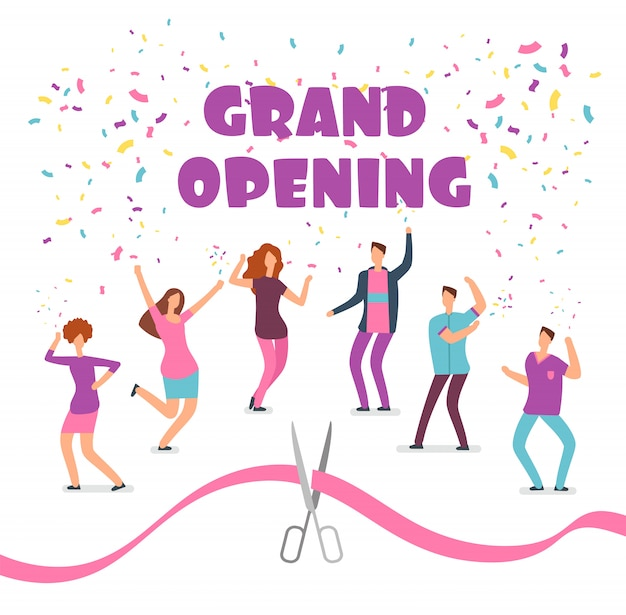 Grand opening concept with happy dancing people at party and red ribbon with scissors cartoon Premium Vector