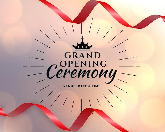 Grand opening event ceremony template Free Vector