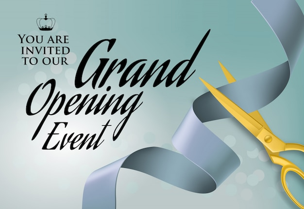 Grand opening event lettering with cutting scissors Free Vector