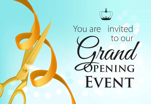 Grand opening event lettering with golden scissors and ribbon Free Vector