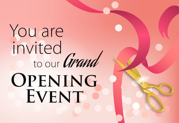 Grand opening event lettering with scissors cutting ribbon Free Vector