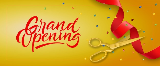 Grand opening festive banner with frame, confetti and gold scissors Free Vector