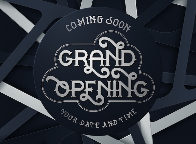Grand opening flyer or invitation card Premium Vector