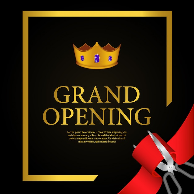 Grand opening gold crown template Premium Vector
