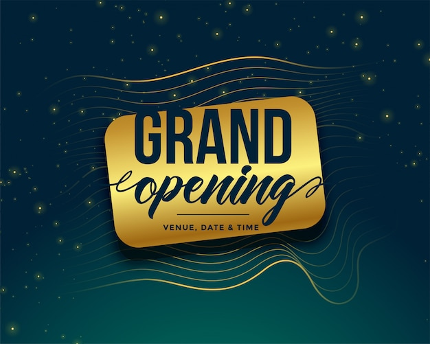 Grand opening golden banner Free Vector
