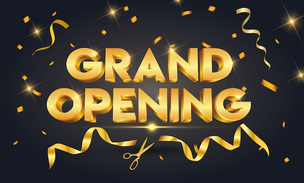 Grand opening golden text with gold scissors cutting gold ribbon on black sparkling Premium Vector