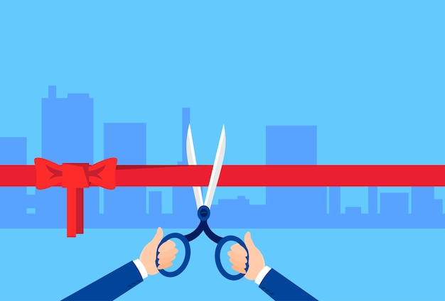Grand opening hand with scissors Premium Vector