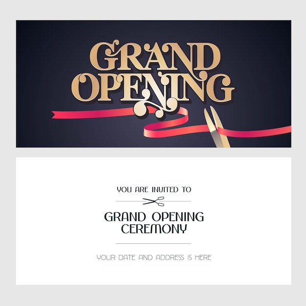 Grand opening  illustration, background, invitation card. template banner, invite for opening event Premium Vector